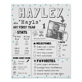 Baby Infographic Milestone First Birthay Board Poster