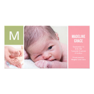 Baby Initial Birth Announcement - Pink Photo Card
