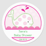 Baby Invitation or Favor Sticker - Baby Girl Whale