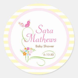 Baby Invitation or Favor Sticker - Bird