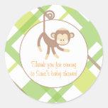 Baby Invitation or Favor Sticker - Monkey