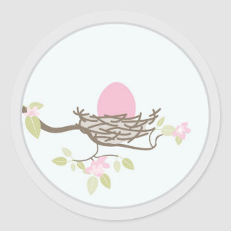 Baby Invitation or Favor Sticker -Pink Egg in Nest