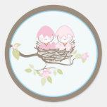Baby Invitation or Favor Sticker - Twin Birds