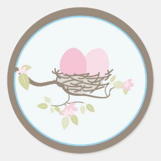 Baby Invitation or Favor Sticker - Twin Eggs
