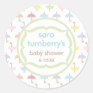 Baby Invitation or Favor Sticker - Umbrella