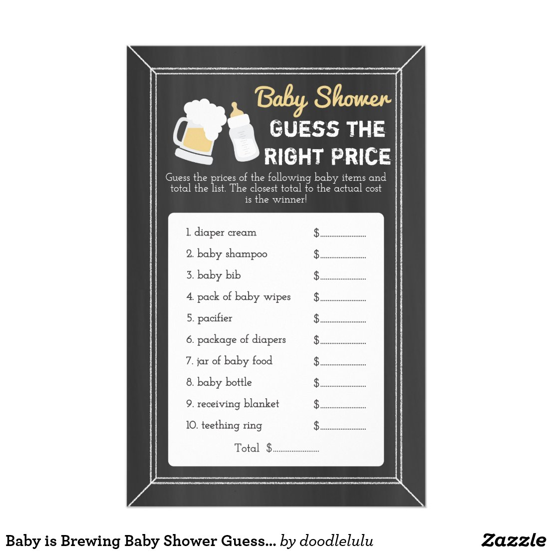 Baby is Brewing Baby Shower Guess Right Price Game Flyer