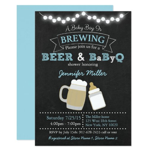 Baby Is Brewing Baby Shower Invitations Blue