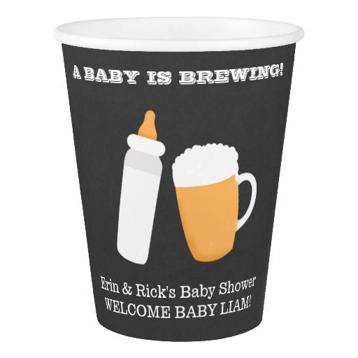BABY IS BREWING Co-Ed Bottle Beer Paper Cups