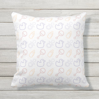 Baby Items Pattern Throw Pillow