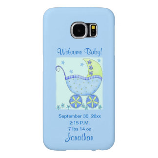 Baby Its A Boy Blue Birth Announcement Cell Samsung Galaxy S6 Case