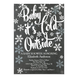 Baby It's Cold Chalkboard Neutral Baby Shower Card