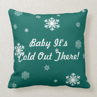 Baby Its Cold Out There, Retro Snowflakes Custom Throw Pillow