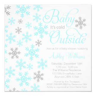 Baby It's Cold Outside Aqua Gray Baby Shower Personalized Invitation
