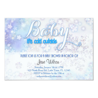 Baby it's cold outside Baby Shower 3.5x5 Paper Invitation Card