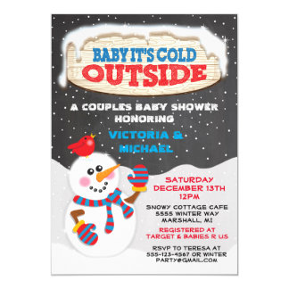 """Baby it's cold outside baby shower 5"""" x 7"""" invitation card"""