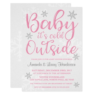 Toddler & Baby themed Baby It's Cold Outside Baby Shower Invite - Pink