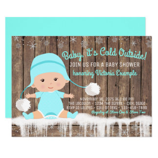 Baby its Cold Outside Baby Shower Teal Blue Card