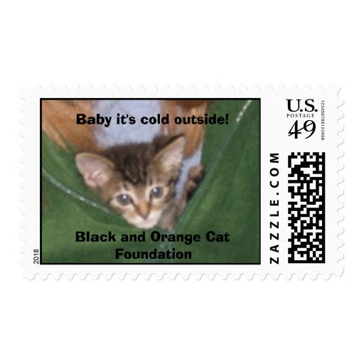 Baby it's cold outside! Black and O... Stamp