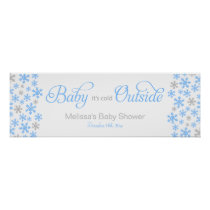 Baby It's Cold Outside Blue Baby Shower Banner Poster