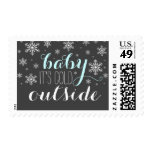 Baby it's Cold Outside Blue Baby Shower Stamp