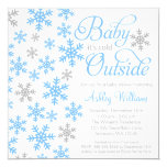 Baby It's Cold Outside Blue Gray Baby Shower Invitation