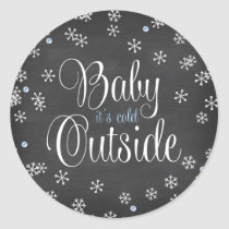 Baby It's Cold Outside Blue Snowflakes Baby Shower Classic Round Sticker