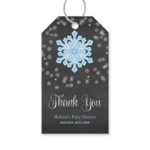 Baby It's Cold Outside Blue Snowflakes Baby Shower Gift Tags