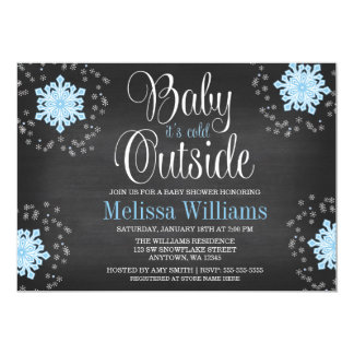 Baby It's Cold Outside Blue Snowflakes Baby Shower 5x7 Paper Invitation Card
