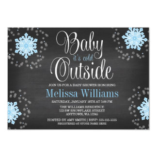 Baby It's Cold Outside Blue Snowflakes Baby Shower 4.5x6.25 Paper Invitation Card