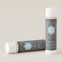 Baby It's Cold Outside Blue Snowflakes Baby Shower Lip Balm