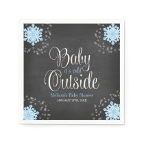 Baby It's Cold Outside Blue Snowflakes Baby Shower Napkin