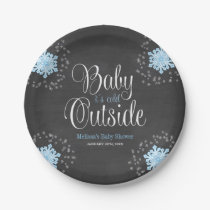 Baby It's Cold Outside Blue Snowflakes Baby Shower Paper Plate