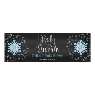 Baby It's Cold Outside Blue Snowflakes Baby Shower Poster