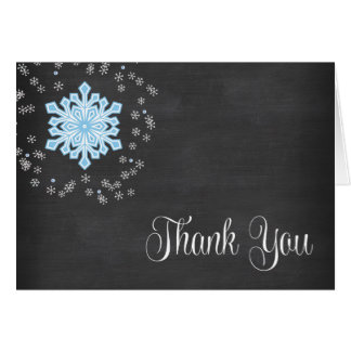 Baby It's Cold Outside Blue Snowflakes Thank You Card