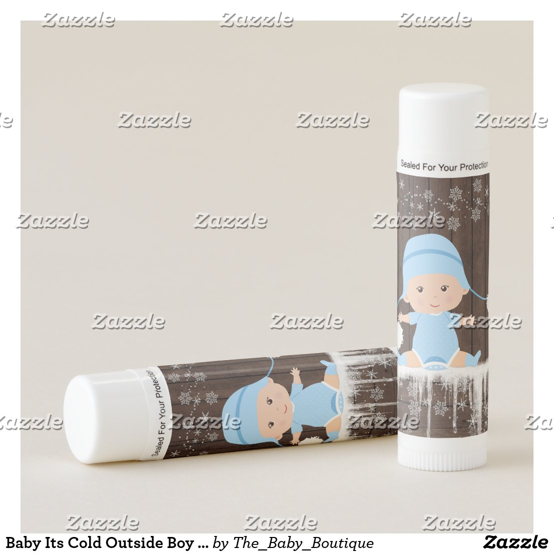 Baby Its Cold Outside Boy Baby Shower Lip Balm