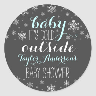 Baby it's Cold Outside - Boy Baby Shower Sticker