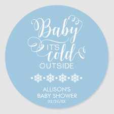 Baby It's Cold Outside Boys Baby Shower Sticker