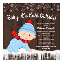 Baby its Cold Outside Boys Winter Baby Shower Card
