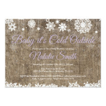 Baby Its Cold Outside Burlap Winter Baby Shower Invitation