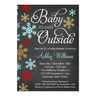 Baby It's Cold Outside Chalkboard Baby Shower Card