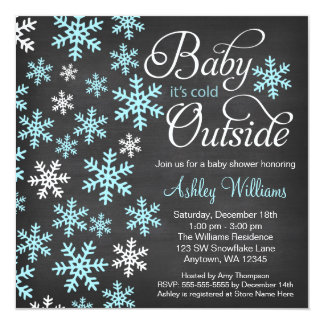 Baby It's Cold Outside Chalkboard Blue Baby Shower 5.25x5.25 Square Paper Invitation Card