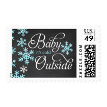 Baby It's Cold Outside Chalkboard Blue Baby Shower Postage