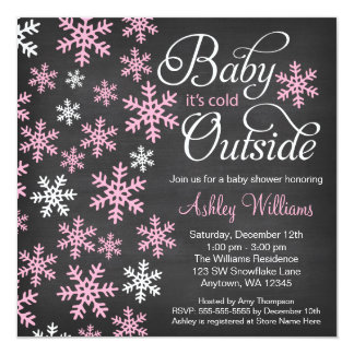 Baby It's Cold Outside Chalkboard Pink Baby Shower 5.25x5.25 Square Paper Invitation Card