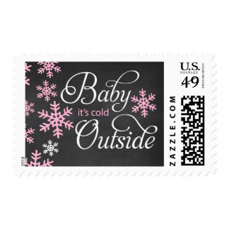 Baby It's Cold Outside Chalkboard Pink Baby Shower Postage