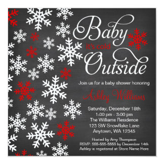 Baby It's Cold Outside Chalkboard Red Baby Shower Card