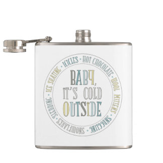Baby It's Cold Outside Chalkboard Winter Words Hip Flask