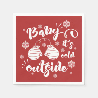 Baby its cold outside cute mittens winter napkin