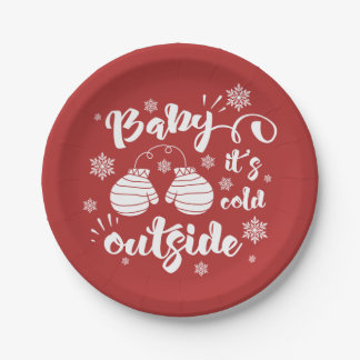 Baby its cold outside cute mittens winter paper plate