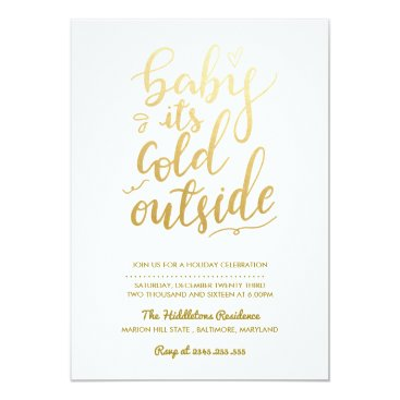 Beach Themed Baby Its Cold Outside Faux Gold Foil   Holiday Card