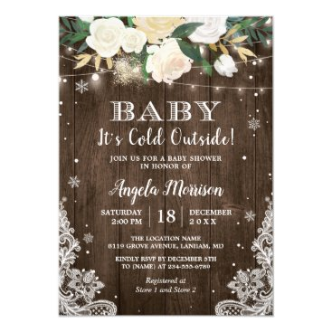 Toddler & Baby themed Baby Its Cold Outside Floral Rustic Baby Shower Card